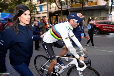 MURCIA, SPAIN - FEBRUARY 16: Arrival / Alejandro Valverde of Spain and Movistar Team World Champion Jersey / Celebration / during the 39th Vuelta a Murcia 2019, Stage 2 a 177,3km stage from Beniel to Murcia / VM / @VueltaMurcia / on February 16, 2019 in Murcia, Spain. (Photo by Jose Breton/Getty Images)