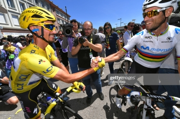 COLMAR, FRANCE - JULY 10: Start / Julian Alaphilippe of France and Team Deceuninck - Quick-Step Yellow Leader Jersey / Alejandro Valverde of Spain and Movistar Team / Saint-Dié-des-Vosges City / during the 106th Tour de France 2019, Stage 5 a 175,5km stage from Saint-Dié-des-Vosges to Colmar / TDF / #TDF2019 / @LeTour / on July 10, 2019 in Colmar, France. (Photo by Tim de Waele/Getty Images)