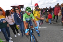 SANTUARIO DEL ACEBO, SPAIN - SEPTEMBER 08: Start / Nairo Quintana of Colombia and Movistar Team Green Points Jersey / Fans / Public / Tineo Village / during the 74th Tour of Spain 2019, Stage 15 a 154,4km stage from Tineo to Puerto del Acebo - Santuario del Acebo 1200m / #LaVuelta19 / @lavuelta / on September 08, 2019 in Santuario del Acebo, Spain. (Photo by Tim de Waele/Getty Images)